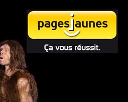 Publicité pages jaunes homme préhistorique